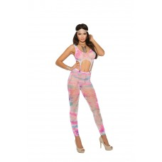 Crochet footless bodystocking with garter clip detail.  - 82055