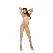 Crochet cami top and matching leggings with feather design.  - 82026