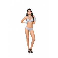 Lace bra with satin bow detail, booty shorts with ruched back and matching fingerless gloves.  - 81255