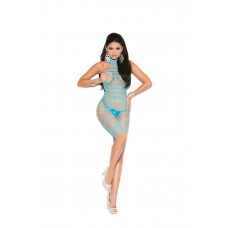 Crochet and fishnet halter neck, mid length bodystocking with open crotch.  - 8015