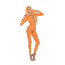 Crochet footless bodystocking with open crotch, 3/4 sleeves and hood. - 8011