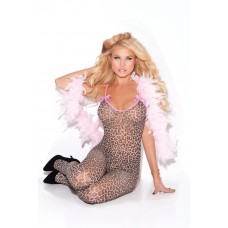 Bodystocking with open crotch and satin bows. - 8549