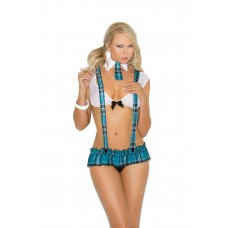 Campus Flirt - Mesh cami top, pleated mini skirt with detachable suspenders and collar with attached tie. - 8918
