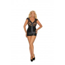 Charmeuse and lace chemise features a V front, cap sleeves and lace back.  - 4344X