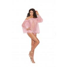 Eyelash lace off the shoulder top with bell sleeves and adjustable and detachable shoulder straps. Matching panty included.  - 44009