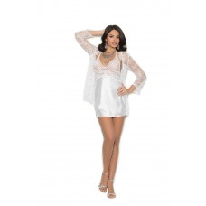 Charmeuse chemise with lace bodice. Matching lace 3/4 sleeve jacket included.  - 4246