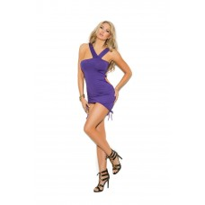 Asymmetrical mini dress with adjustable scrunch sides and ruching.  - 8337