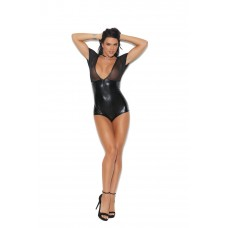 """Wet Look"" and mesh deep V romper with short sleeves and front zipper closure.  - 7275"