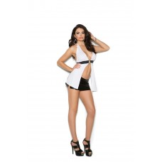 Halter style top with silver O ring detail.  - 2674