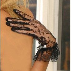 Lace wrist length gloves with ruffle trim. - 1260