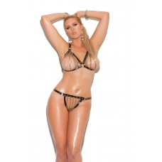 Chain bra with leather trim and matching thong.  *Available Boxed - L1130X