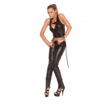 Leather pants with lace up sides.  - L9119