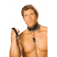 Leather choker with chain and detachable chain leash. *Available Boxed - L9151