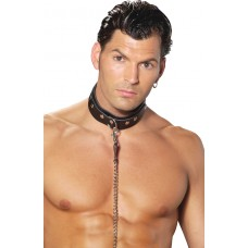 Men's leather collar with O ring detail.  - L9150