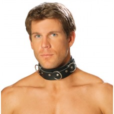 Men's leather collar with O rings and nail heads.  - L9066