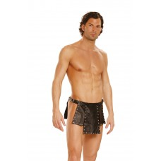 Leather kilt with nail heads and adjustable buckle closure.  - L9869