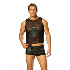 Leather and mesh shorts with cross and nail head detail.  - L9285