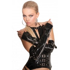 Fingerless vinyl gloves with zipper and buckle detail. *Available Boxed - V9431