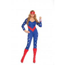 American Hero - 3 pc. costume includes long sleeve jumpsuit, wrist band and head piece.  - 9144