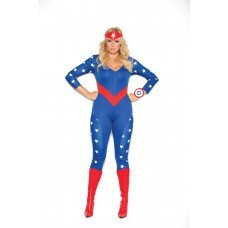American Hero - 3 pc. costume includes long sleeve jumpsuit, wrist band and head piece.  - 9144X