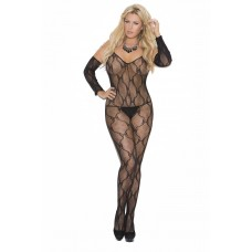 Bow tie lace bodystocking with open crotch and matching gloves. - 1604Q