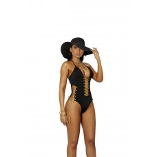 Lycra monokini with lace up detail. - 82267