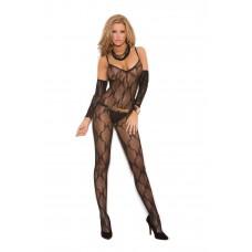 Bow tie lace bodystocking with open crotch and matching gloves. - 1604