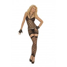 Diamond net halter neck mini dress, g-string and footless thigh hi's.  - 1559