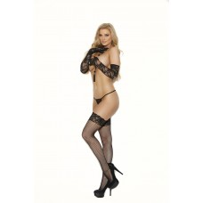 """Fishnet thigh hi with """"stay up"""" silicone lace top and back seam. - 12031"""