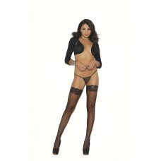 """Fishnet thigh hi with """"stay up"""" silicone lace top. - 12018"""