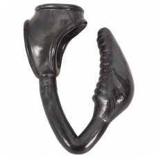 The Earl Cock and Ball Ring with Anal Plug -Black